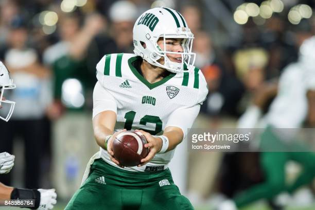 Ohio Bobcats quarterback Nathan Rourke hands off during the college football game between the Purdue Boilermakers and Ohio Bobcats on September 8 at...