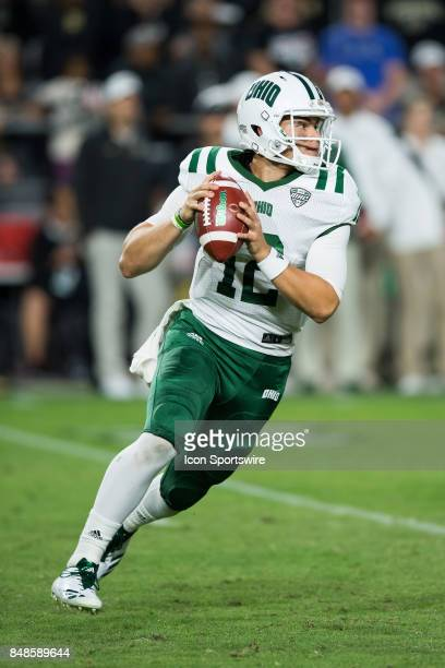 Ohio Bobcats quarterback Nathan Rourke scrambles during the college football game between the Purdue Boilermakers and Ohio Bobcats on September 8 at...