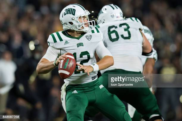 Ohio Bobcats quarterback Nathan Rourke throws downfield during the college football game between the Purdue Boilermakers and Ohio Bobcats on...