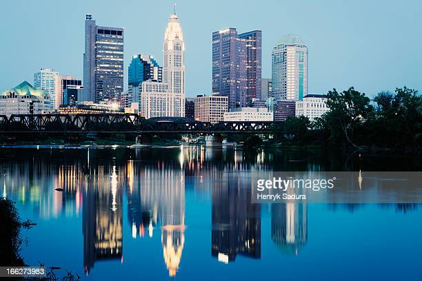 USA, Ohio, Cleveland, City skyline at dusk