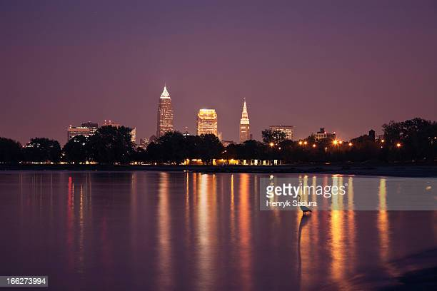 USA, Ohio, Cleveland, City skyline at night
