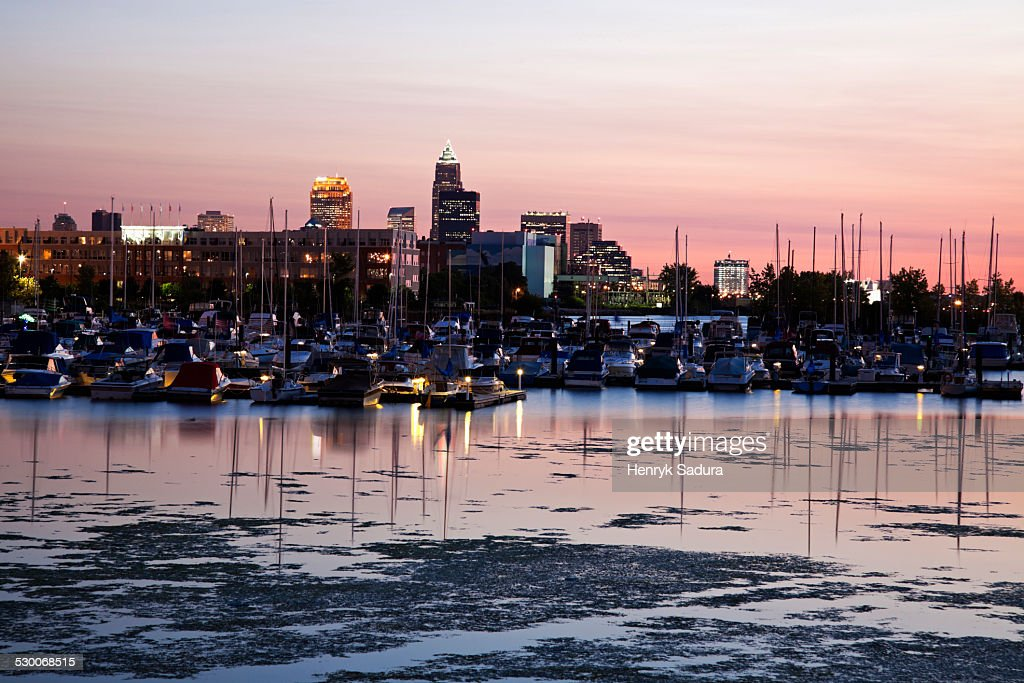 USA, Ohio, Cleveland, Cityscape and marina seen from lake Erie