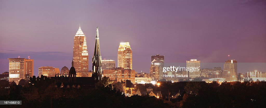 USA, Ohio, Cleveland, Cityscape at night : Stock Photo