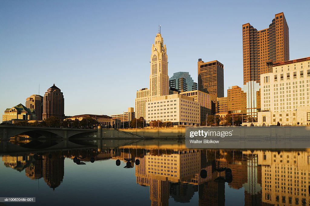 USA, Ohio, Columbus, City Skyline along Scioto River