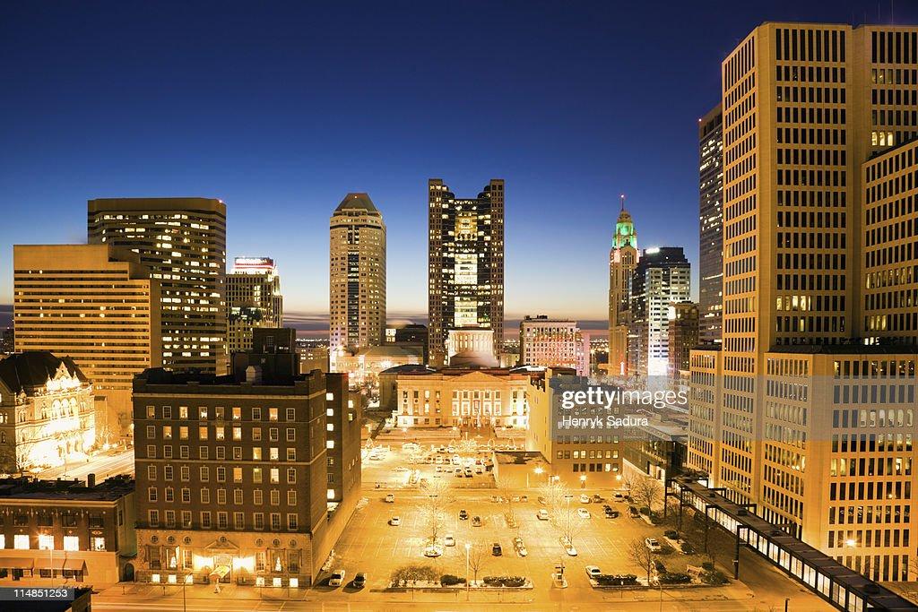 USA, Ohio, Columbus, Downtown illuminated at night