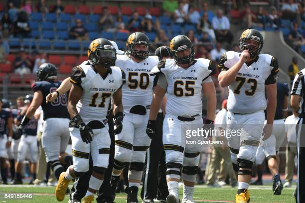 Ohio Dominican Panthers offensive line heads to the bench during a college football game between the Penn Quakers and the Ohio Dominican Panthers on...