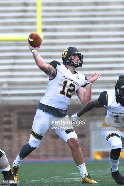 Ohio Dominican Panthers quarterback Grant Russell throws a touchdown pass during a college football game between the Penn Quakers and the Ohio...