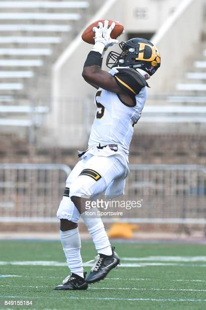 Ohio Dominican Panthers wide receiver Nick McKnight catches a long pass during a college football game between the Penn Quakers and the Ohio...