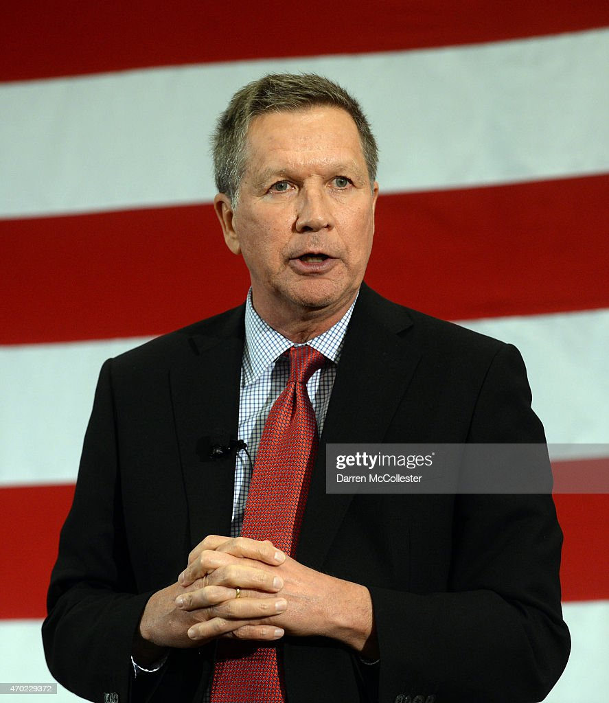 Ohio Gov John Kasich speaks at the First in the Nation Republican Leadership Summit April 18 2015 in Nashua New Hampshire The Summit brought together...