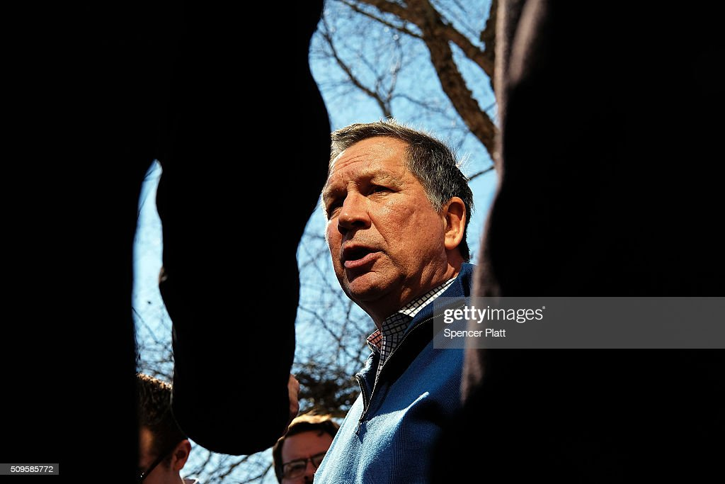 Ohio Governor and Republican presidential candidate John Kasich speaks to members of the media outside of a restaurant in South Carolina following his second place showing in the New Hampshire primary on February 11, 2016 in Pawleys Island, South Carolina. Kasich, who is running as a moderate, is expected to face a difficult environment in South Carolina where conservative voters far outnumber moderates.