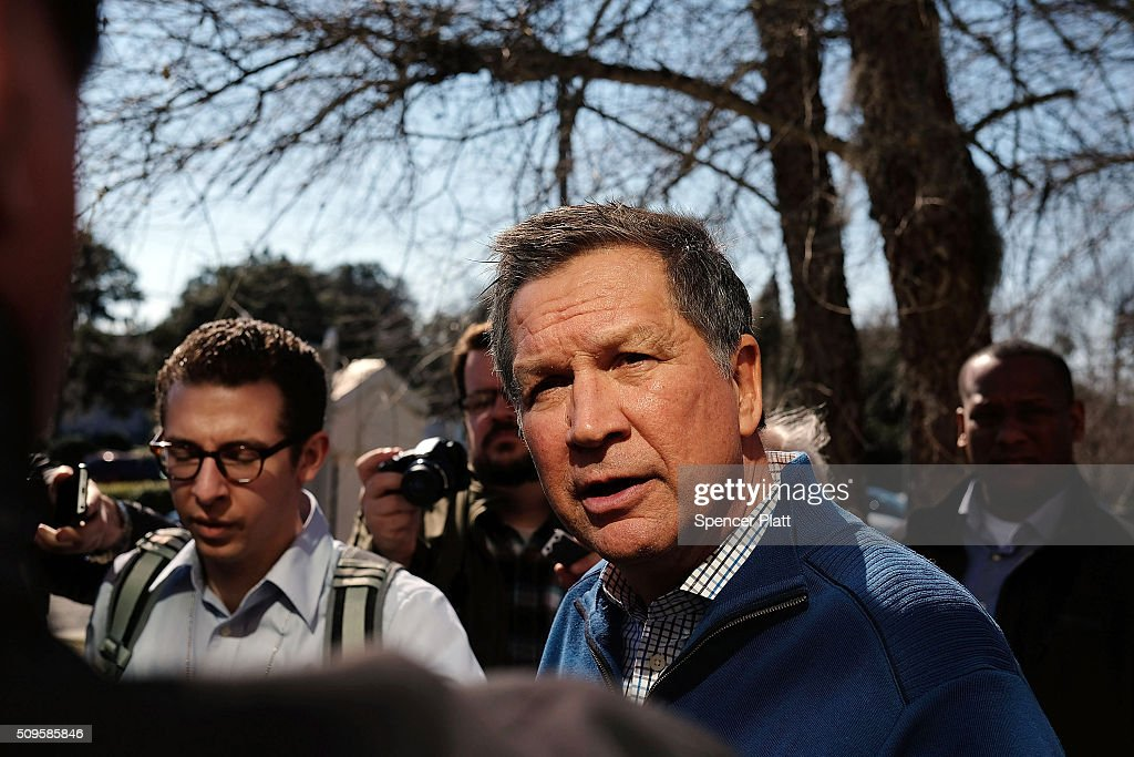 Ohio Governor and Republican presidential candidate John Kasich speaks to members of the media outside of a restaurant in South Carolina following his second place showing in the New Hampshire primary on February 11, 2016 in Pawleys Island, South Carolina. Kasich, who is running as a moderate, is expected to face a difficult environment in South Carolina where conservative voters are believed to outnumber moderates.