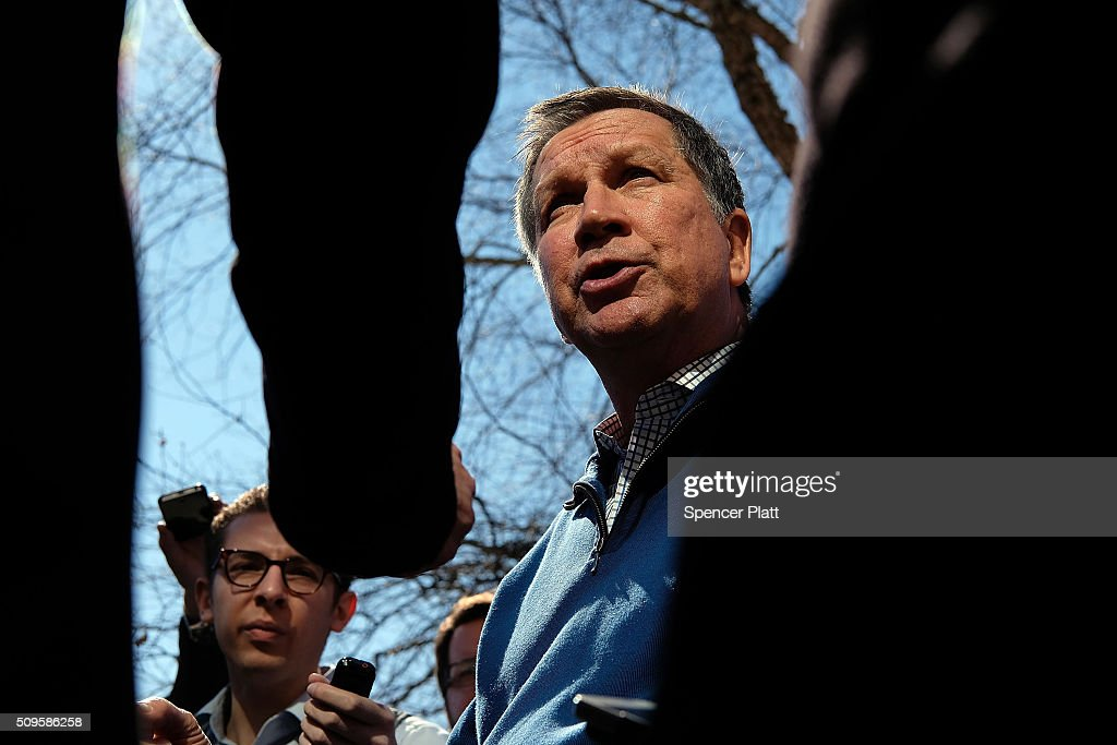 Ohio Governor and Republican presidential candidate <a gi-track='captionPersonalityLinkClicked' href=/galleries/search?phrase=John+Kasich&family=editorial&specificpeople=1315571 ng-click='$event.stopPropagation()'>John Kasich</a> speaks to members of the media outside of a restaurant in South Carolina following his second place showing in the New Hampshire primary on February 11, 2016 in Pawleys Island, South Carolina. Kasich, who is running as a moderate, is expected to face a difficult environment in South Carolina where conservative voters traditionally outnumber moderates.