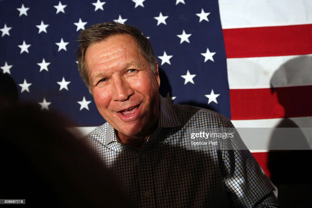 Ohio Governor and Republican presidential candidate <a gi-track='captionPersonalityLinkClicked' href=/galleries/search?phrase=John+Kasich&family=editorial&specificpeople=1315571 ng-click='$event.stopPropagation()'>John Kasich</a> speaks to voters at a restaurant in South Carolina following his second place showing in the New Hampshire primary on February 11, 2016 in Myrtle Beach South Carolina. Kasich, who is running as a moderate, is expected to potentially face a difficult environment in South Carolina where conservative voters traditionally outnumber moderates.