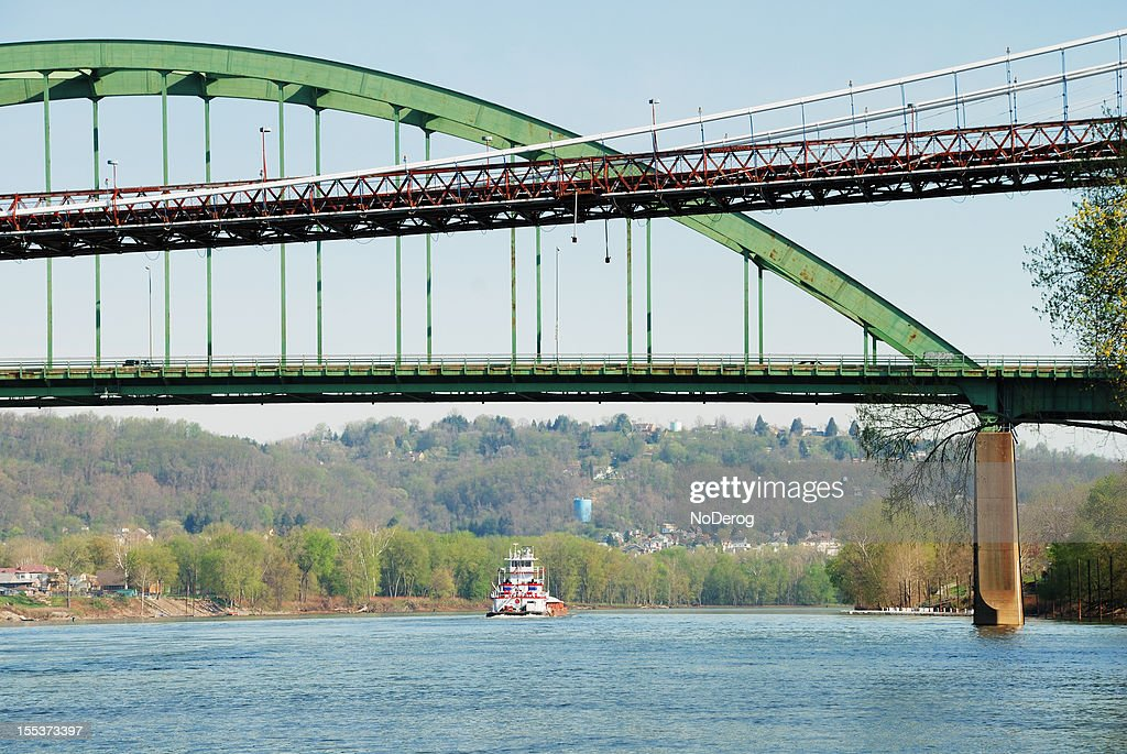 Ohio River bridges and barge
