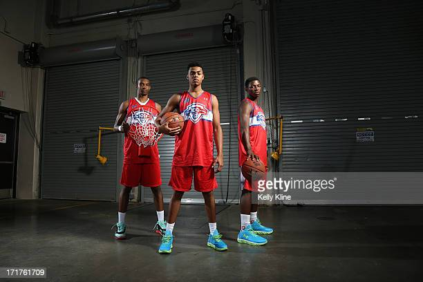 Ohio State basketball commits Keita BatesDiop #36 DeAngelo Russell and Jae' Sean Tate pose during a portrait session at the NBPA Top 100 Camp on June...