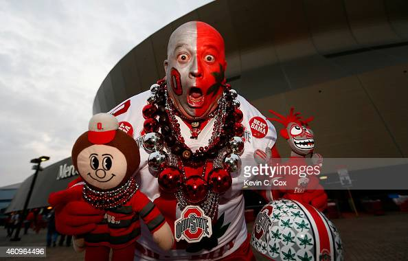 Ohio State Buckeye fans show their support outside of the stadium prior to the start of the game during the All State Sugar Bowl at the MercedesBenz...