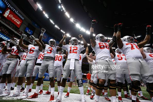 Ohio State Buckeye players cheer at the start of the game against Alabama during the All State Sugar Bowl at the MercedesBenz Superdome on January 1...