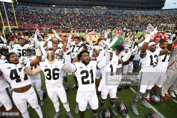 Ohio State Buckeyes celebrate victory over Michigan Wolverines Ohio State Buckeyes won 31 to 20 on November 25 2017 at Michigan Stadium in Ann Arbor...