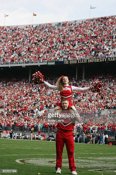 Ohio State Buckeyes cheerleaders perform during the game against the Penn State Nittany Lions at Ohio Stadium on October 30 2004 in Columbus Ohio...