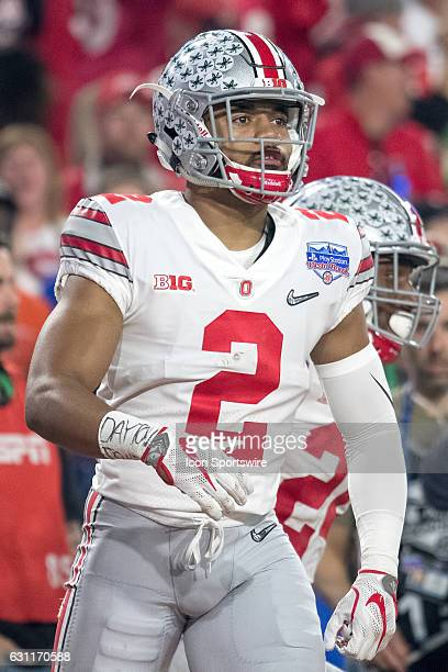 Ohio State Buckeyes cornerback Marshon Lattimore looks on during the Playstation Fiesta Bowl against the Ohio State Buckeyes at University of Phoenix...