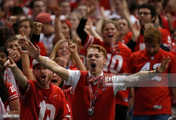 Ohio State Buckeyes fans cheer during the All State Sugar Bowl against the Alabama Crimson Tide at the MercedesBenz Superdome on January 1 2015 in...