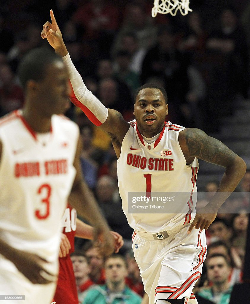 Ohio State Buckeyes forward Deshaun Thomas (1) celebrates after scoring against Wisconsin during the first half in the finals of the men's Big Ten basketball tournament at the United Center in Chicago, Illinois, Sunday, March 17, 2013. Buckeyes win, 50-43.