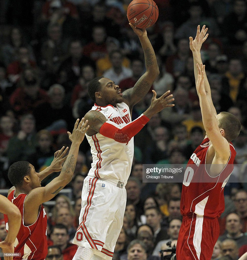 Ohio State Buckeyes forward Deshaun Thomas (1) gets a shot over Wisconsin Badgers forward/center Jared Berggren (40) during the first half in the finals of the men's Big Ten basketball tournament at the United Center in Chicago, Illinois, Sunday, March 17, 2013. Buckeyes win, 50-43.