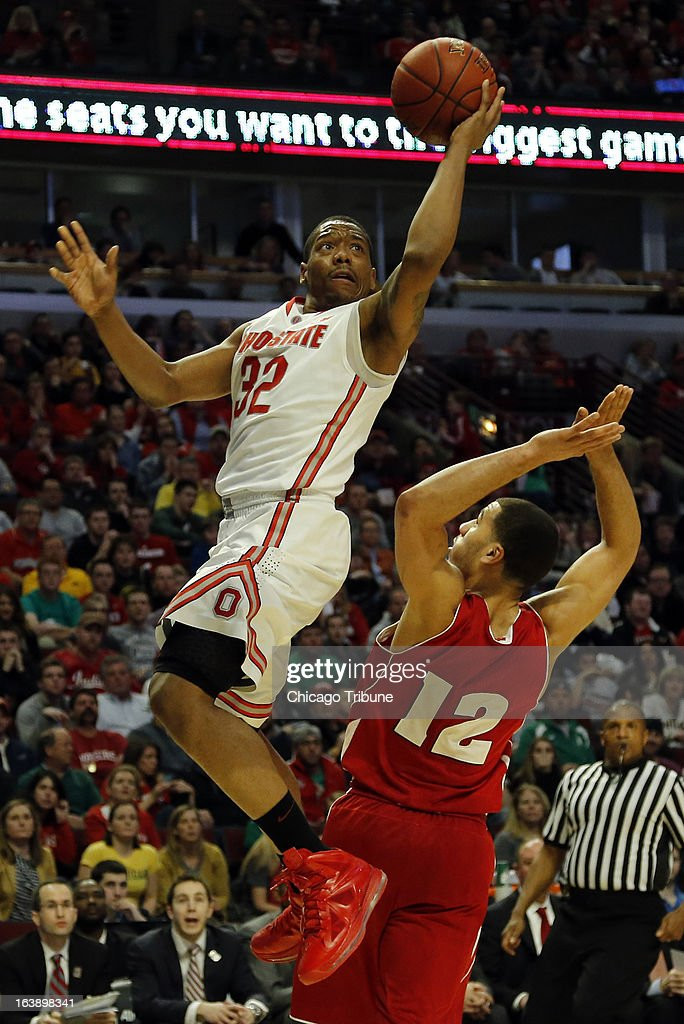 Ohio State Buckeyes guard Lenzelle Smith, Jr. (32) shoots over Wisconsin Badgers guard Traevon Jackson (12) during the second half in the finals of the men's Big Ten basketball tournament at the United Center in Chicago, Illinois, Sunday, March 17, 2013. Buckeyes win, 50-43.