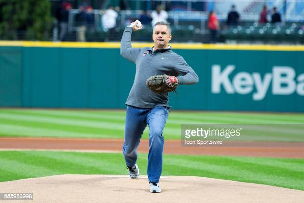 Ohio State Buckeyes head basketball coach Chris Holtmann throws out the first pitch prior to the Major League Baseball game between the Chicago White...