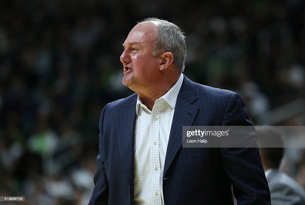 Ohio State Buckeyes head basketball coach <a gi-track='captionPersonalityLinkClicked' href=/galleries/search?phrase=Thad+Matta&family=editorial&specificpeople=799910 ng-click='$event.stopPropagation()'>Thad Matta</a> reacts to a call during the first half of the game against the Michigan State Spartans on March 5, 2016 at the Breslin Center in East Lansing, Michigan.