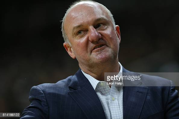 Ohio State Buckeyes head basketball coach Thad Matta watches the action during the second half of the game against the Michigan State Spartans on...