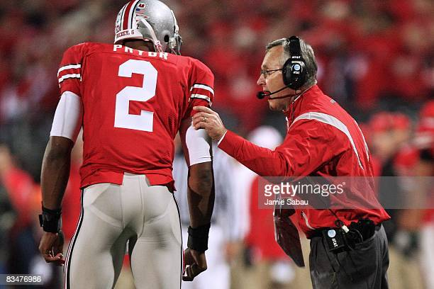 Ohio State Buckeyes head coach Jim Tressell instructs his quarterback Terrell Pryor during the game against the Penn State Nittany Lions on October...