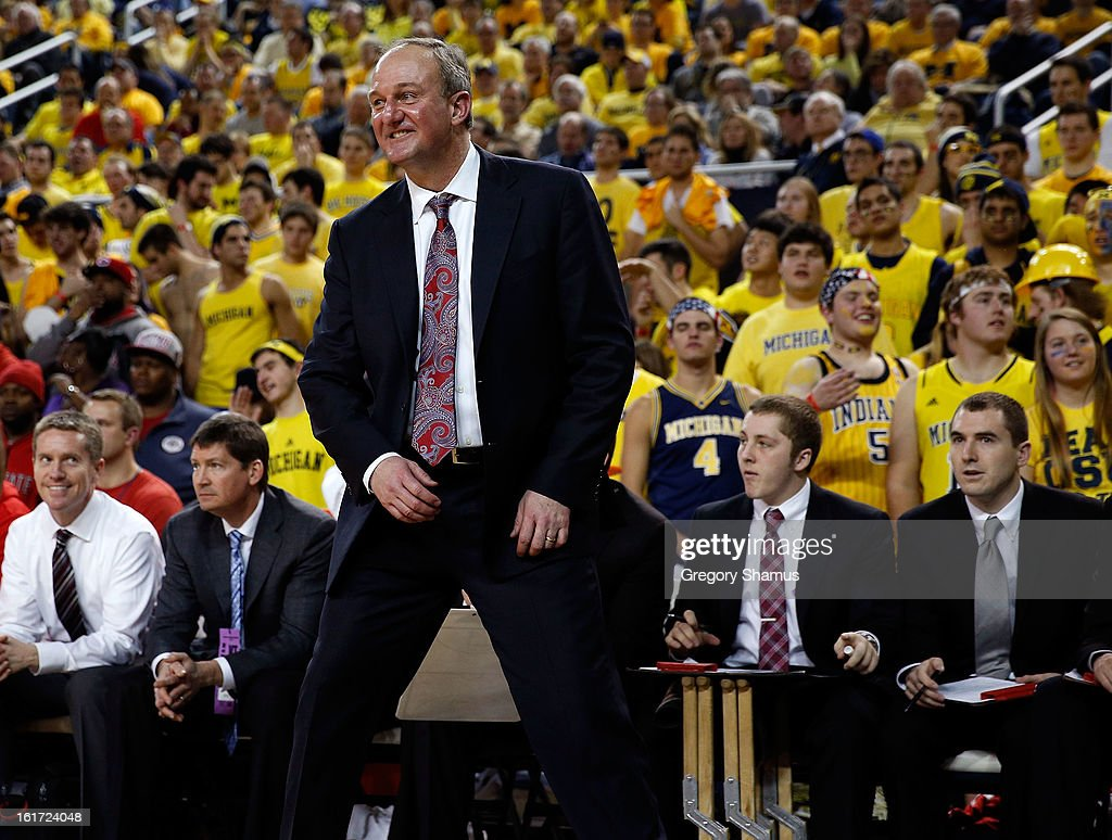 Ohio State Buckeyes head coach Thad Matta reacts during a game against the Michigan Wolverines at Crisler Center on February 5, 2013 in Ann Arbor, Michigan.