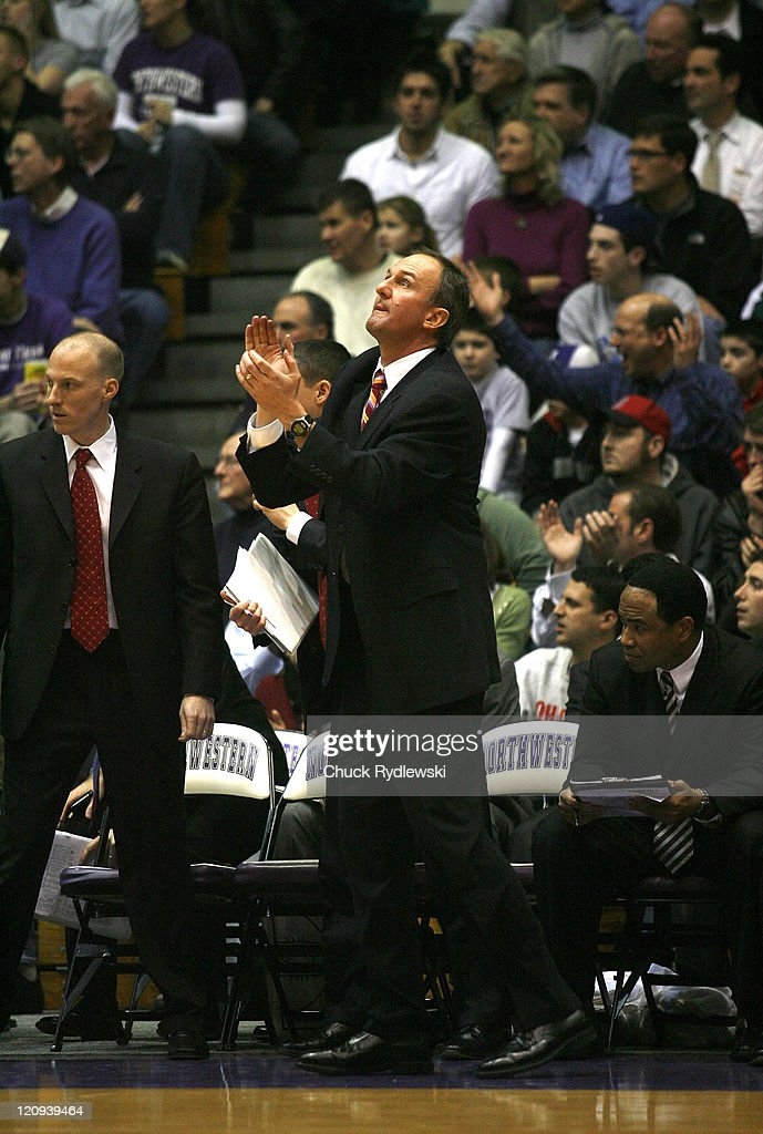Ohio State Buckeye's, Head Coach, <a gi-track='captionPersonalityLinkClicked' href=/galleries/search?phrase=Thad+Matta&family=editorial&specificpeople=799910 ng-click='$event.stopPropagation()'>Thad Matta</a>, watches the clock during their game against the Northwestern Wildcats January 24, 2007 at Welsh-Ryan Arena in Evanston, Illinois. The Buckeyes would defeat the Wildcats 59-50.