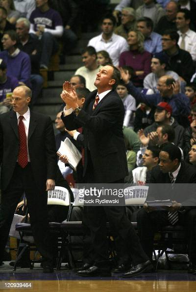 Ohio State Buckeye's Head Coach Thad Matta watches the clock during their game against the Northwestern Wildcats January 24 2007 at WelshRyan Arena...