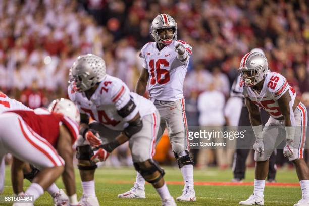 Ohio State Buckeyes quarterback JT Barrett giving direction to a teammate in the game against the Nebraska Cornhuskers on October 14 2017 at Memorial...