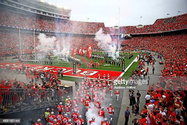 Ohio State Buckeyes take the field prior to the game against the Northern Illinois Huskies at Ohio Stadium on September 19 2015 in Columbus Ohio