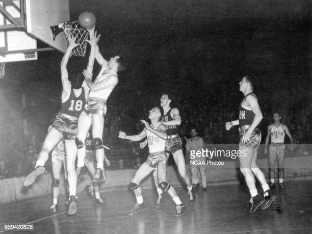 Ohio State center John Schick makes a basket during the first NCAA Men's Basketball National Championship game held in Evanston IL at the Patten...