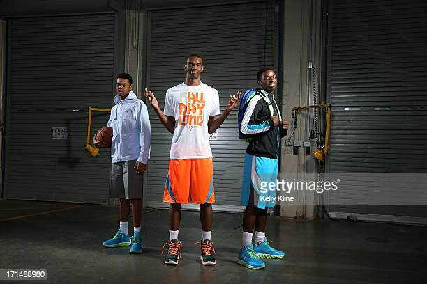 Ohio State commits DeAngelo Russell Keita BatesDiop and Jae' Sean Tate pose during a portrait session at the NBPA Top 100 Camp on June 15 2013 at...