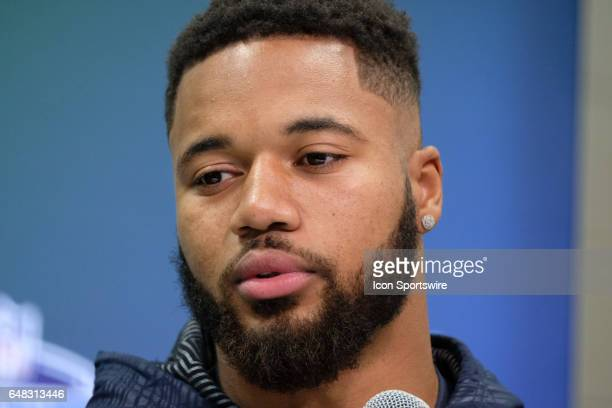 Ohio State defensive back Marshon Lattimore answers questions from members of the media during the NFL Scouting Combine on March 5 2017 at Lucas Oil...