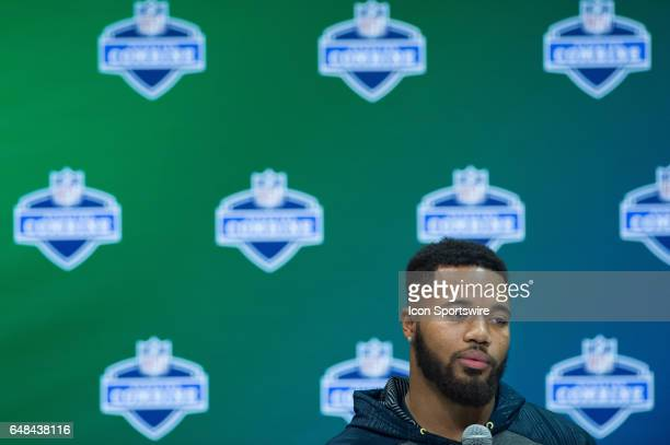 Ohio State defensive back Marshon Lattimore answers questions from the media during the NFL Scouting Combine on March 5 2017 at Lucas Oil Stadium in...