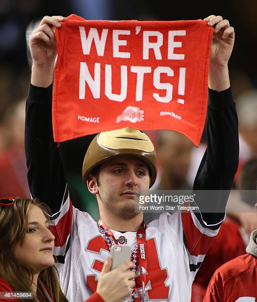 Ohio State fans cheer on their team as it takes on Oregon in the CFP National Championship on Monday Jan 12 at ATT Stadium in Arlington Texas