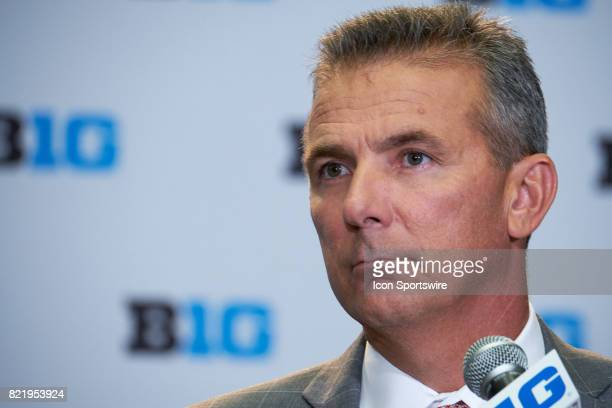 Ohio State football Head Coach Urban Meyer takes questions during the Big 10 Football Media Days on July 24 2017 at Hyatt Regency McCormick Place in...
