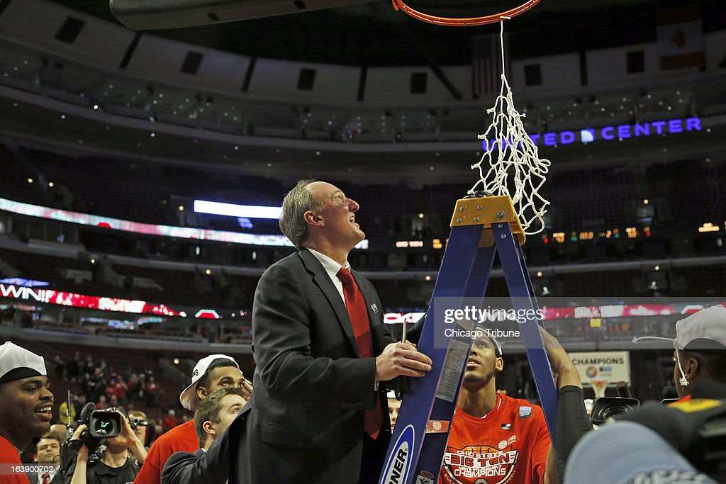 Ohio State head coach Thad Matta cuts the basketball net in the finals of the men's Big Ten basketball tournament at the United Center in Chicago, Illinois, Sunday, March 17, 2013. Buckeyes defeated the Wisconsin Badgers, 50-43.