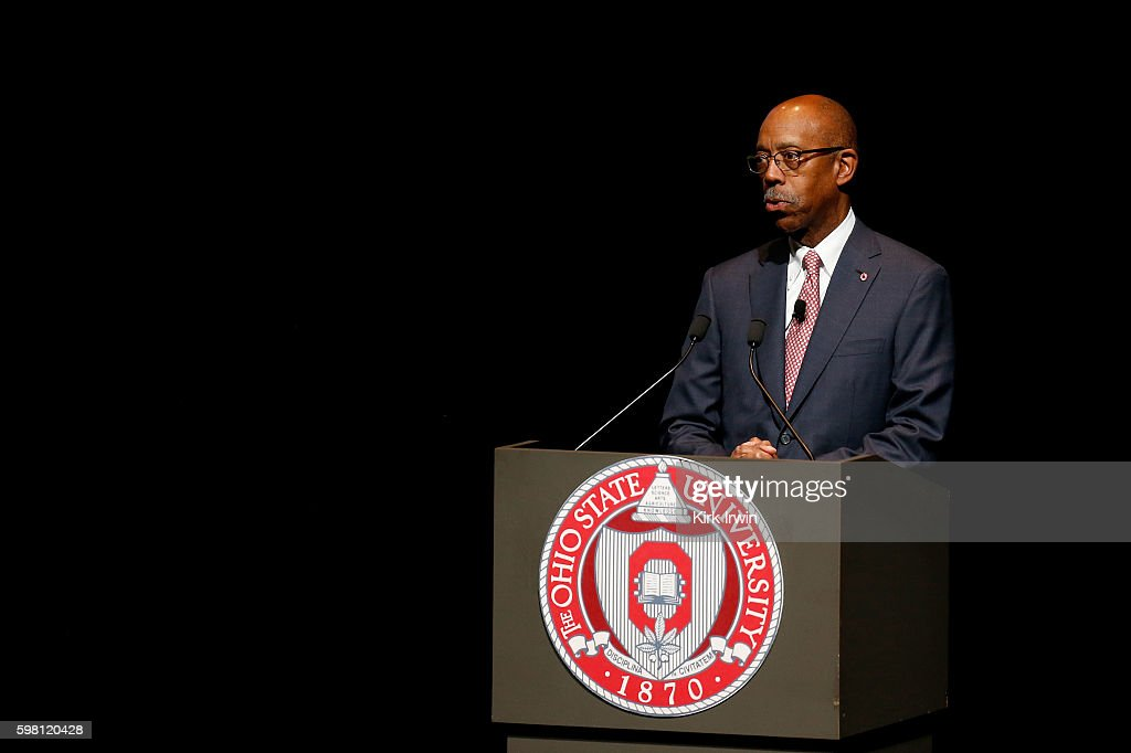 Ohio State President Michael Drake addresses the audience prior to HSH Prince Albert II of Monaco speaking at Mershon Auditorium at Ohio State...