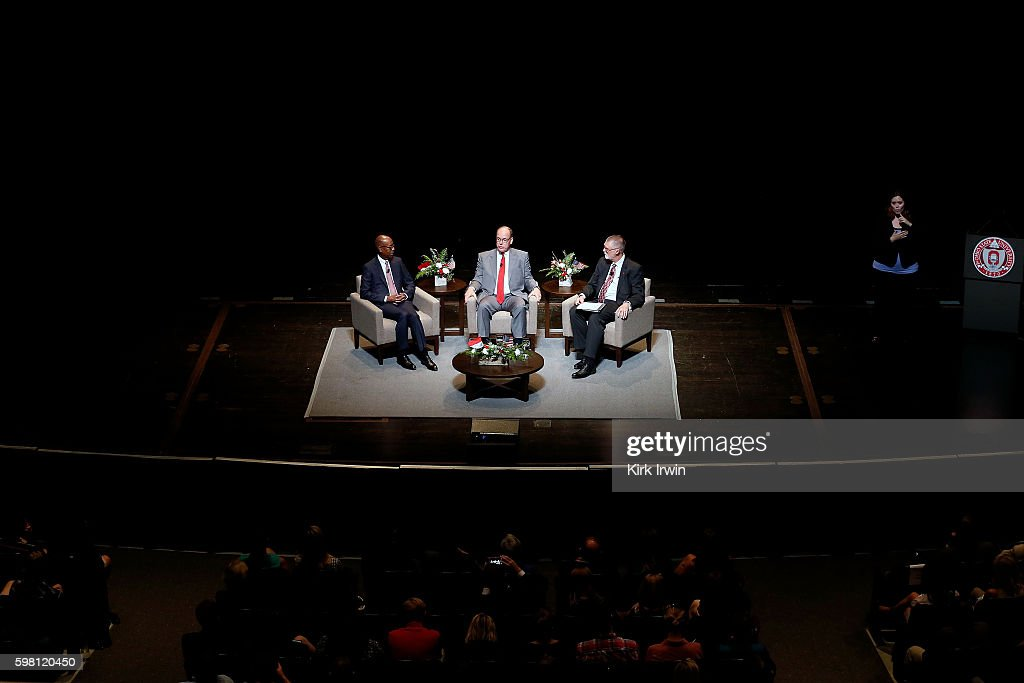 Ohio State University President Michael Drake HSH Prince Albert II of Monaco and Ohio State University Provost Bruce McPheron answer questions and...