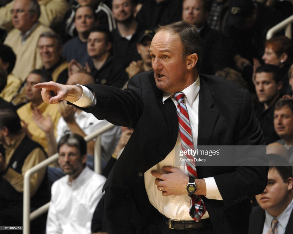 Ohio State's Coach <a gi-track='captionPersonalityLinkClicked' href=/galleries/search?phrase=Thad+Matta&family=editorial&specificpeople=799910 ng-click='$event.stopPropagation()'>Thad Matta</a> during the game won by Ohio State 78-60 in Mackey Arena in West Lafayette, Indiana on January 31, 2007.