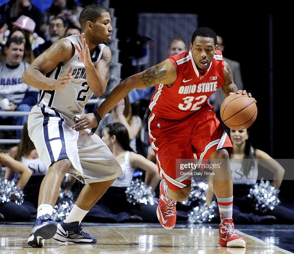Ohio State's Lenzelle Smith Jr. (32) works off the dribble against Penn State's D.J. Newbill on Saturday, January 26, 2013, at the Bryce Jordan Center in University Park, Pennsylvania. Ohio State won, 65-51.