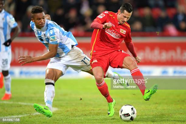 Ohis Felix Uduokhai of TSV 1860 Muenchen and Steven Skrzybski of 1 FC Union Berlin during the game between dem 1 FC Union Berlin and dem TSV 1860...