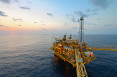 Oil and gas platform in sunset or sunrise time,Offshore oil and gas, in the gulf of thailand